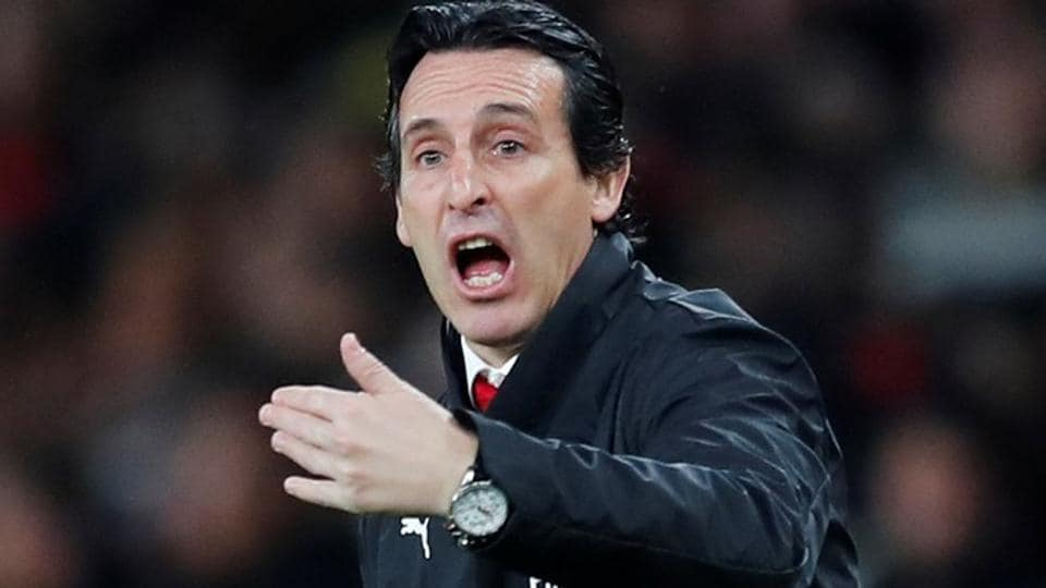 Arsenal manager Unai Emery reacts during their Carabao Cup match against Blackpool.