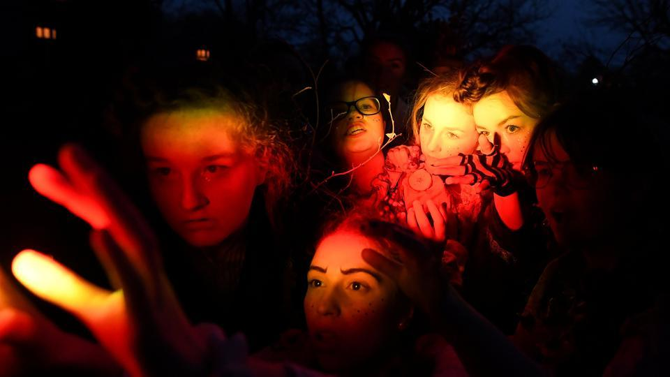 Members of street performance troupe Macnas participate in their Halloween parade called 'Out of the Wild Sky' in Galway, Ireland. (Clodagh Kilcoyne / REUTERS)