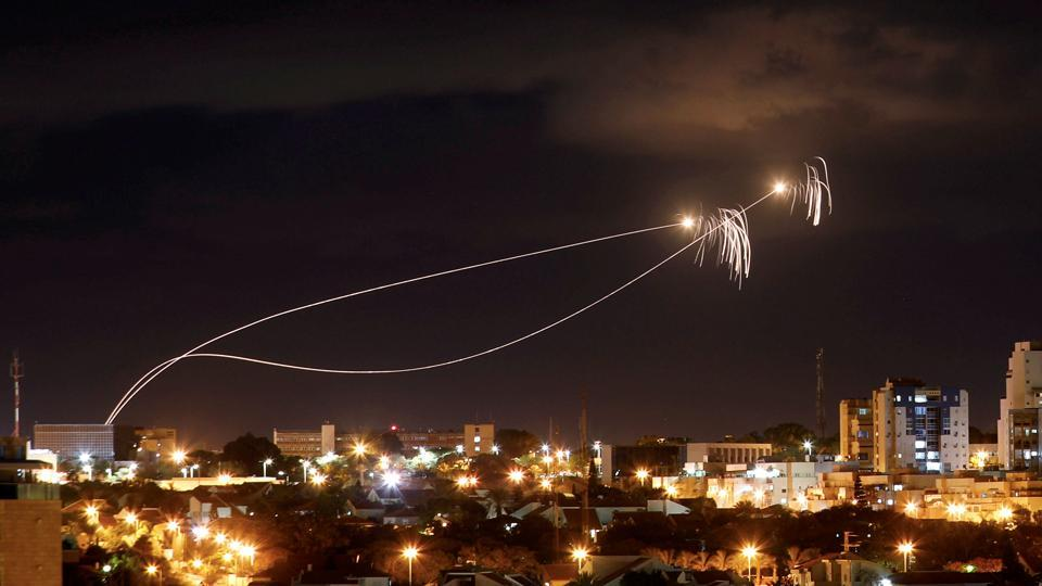 Iron Dome anti-missile system fires interception missiles as rockets are launched from Gaza towards Israel as seen from the city of Ashkelon, Israel. (Amir Cohen / REUTERS)