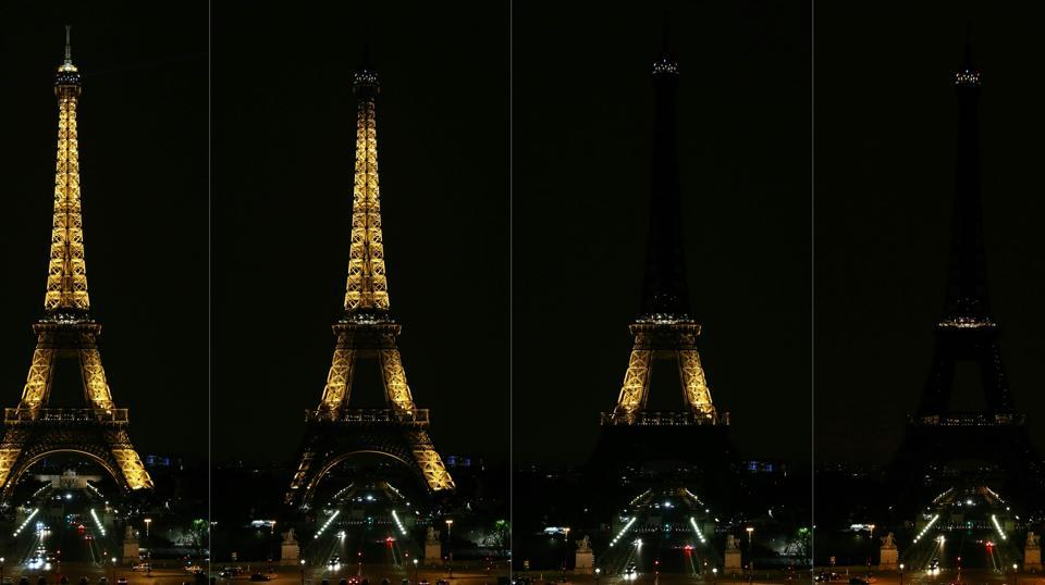 This combination image shows the Eiffel Tower as its lights are turned off in honour of the victims of the anti-Semitic attack in Pittsburgh, Pennsylvania. The rampage on October 27 took the lives of 11 people at the Tree of Life synagogue in Pittsburgh's predominantly Jewish Squirrel Hill neighbourhood. (Zakaria Abdelkafi / AFP)