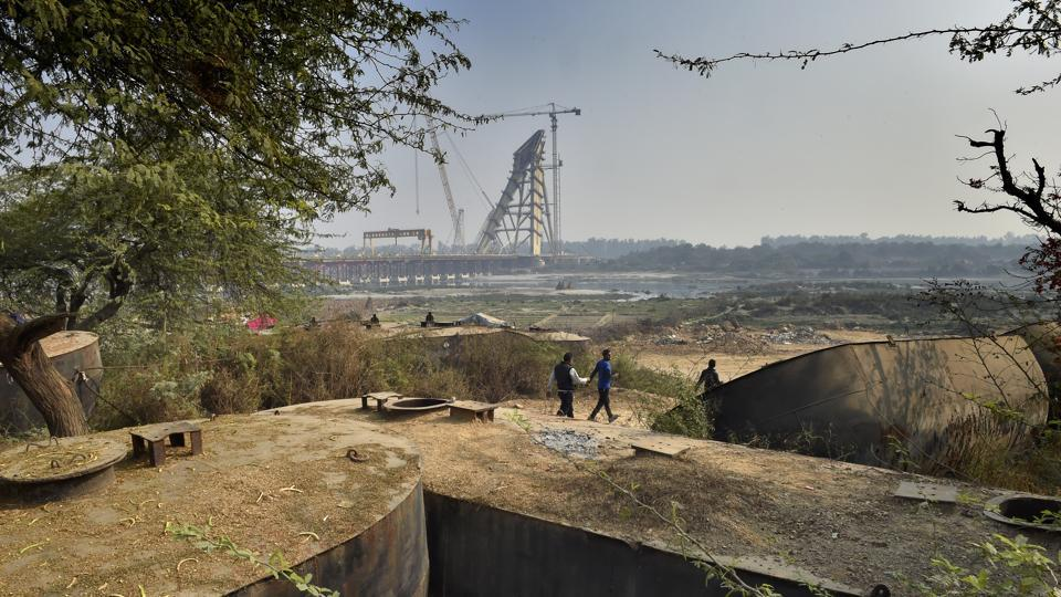 The still under construction Signature Bridge seen in January 2017. Fourteen years in the making, the bridge will reduce the travel time between north and northeast Delhi and will be developed into a tourist spot in the second phase of its development. (Ajay Aggarwal / HT Archive)