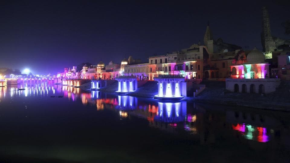 Ayodhya: Ghats on the banks of River Saryu lit ahead of Deepotsav (Diwali celebrations) in Ayodhya, Friday, Nov 02, 2018. (PTI Photo) (PTI11_2_2018_000220B)
