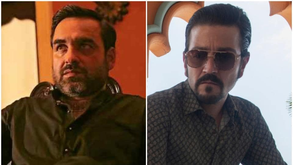 Pankaj Tripathi in a still from Amazon's Mirzapur (L) and Diego Luna in a still from Netflix's Narcos: Mexico (R).