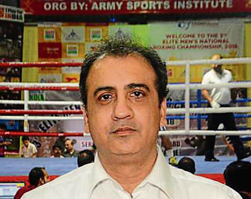 Farhad Engineer, referee during the National Boxing Championship in Pune, India, on Wednesday.