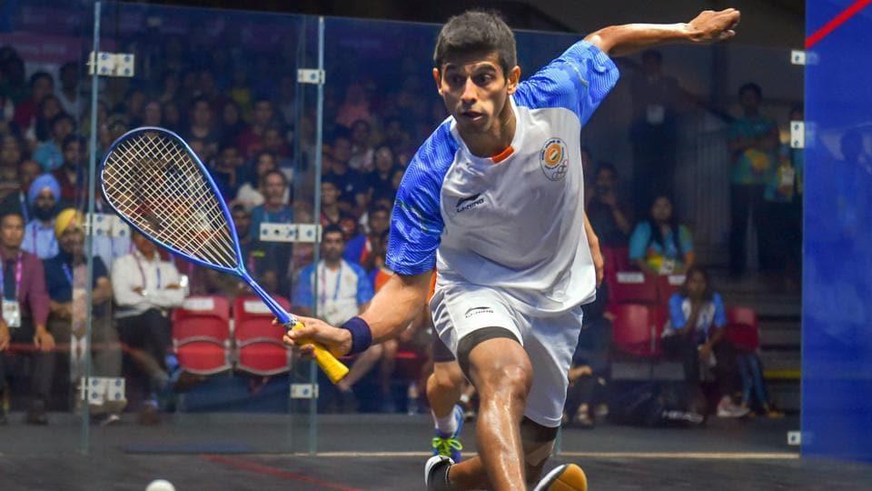 Saurav Ghosal in action during men's squash semifinal match.