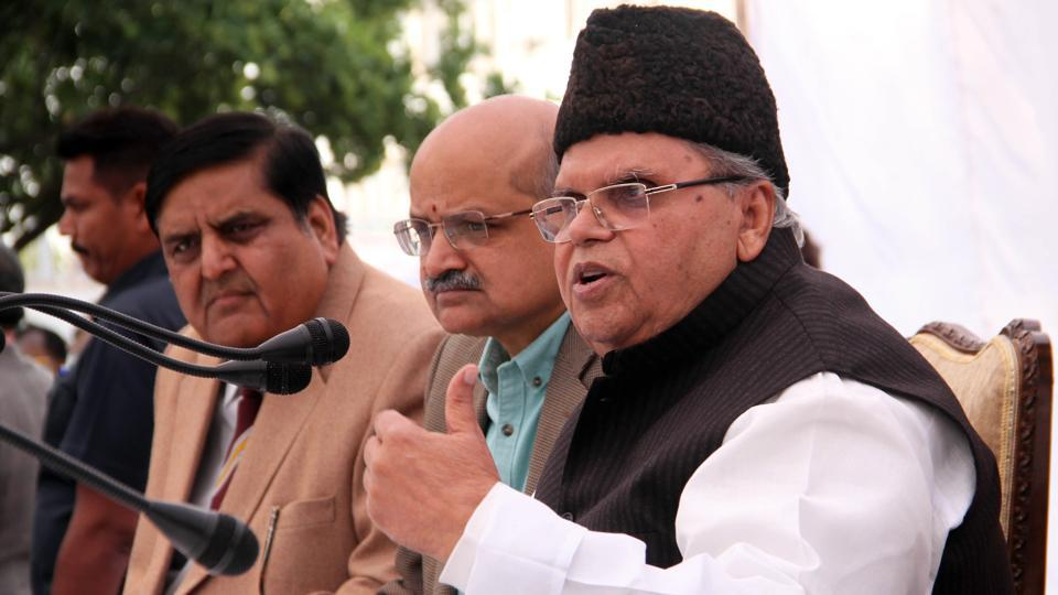 The attackers involved in the killings of senior BJP leader Anil Parihar and his brother Ajit Parihar have been identified and will be brought before the people soon, Jammu and Kashmir governor Satya Pal Malik said on Monday. Anil Parihar, 53, and his brother Ajit were shot on Thursday in Kishtwar town. The killings, ahead of the panchayat elections starting November 17, triggered angry protests in the communally sensitive district. (Nitin Kanotra / HT Photo)