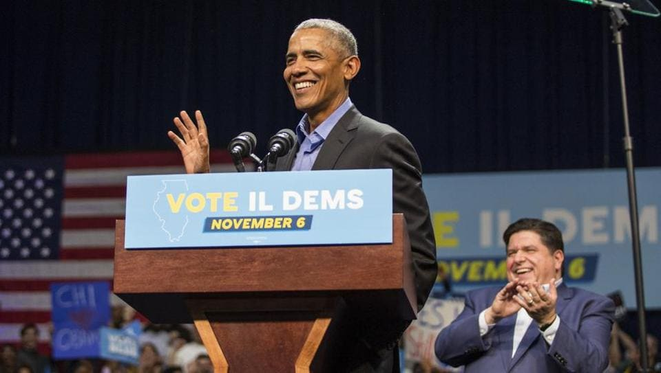 """Former President Barack Obama has accused Trump of lying and """"fear-mongering"""" and warned Democrats not to be distracted."""