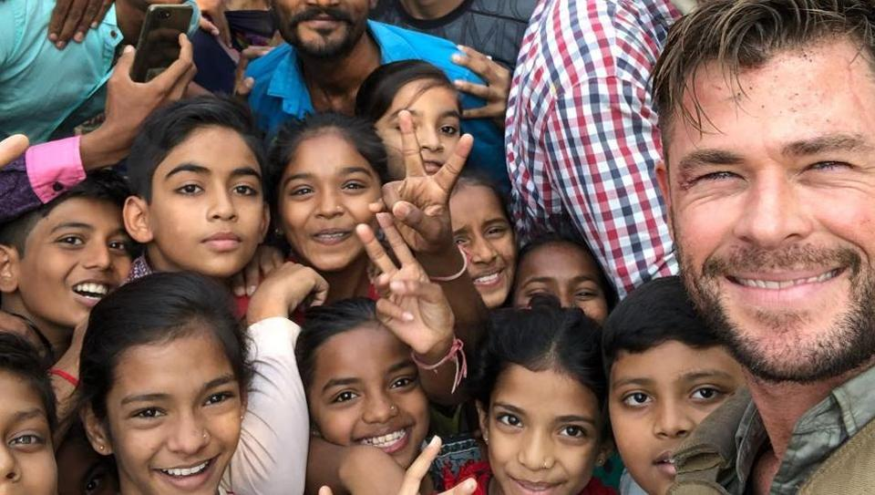 Chris Hemsworth poses with kids in Ahmedabad, where he is filming Netflix's Dhaka.