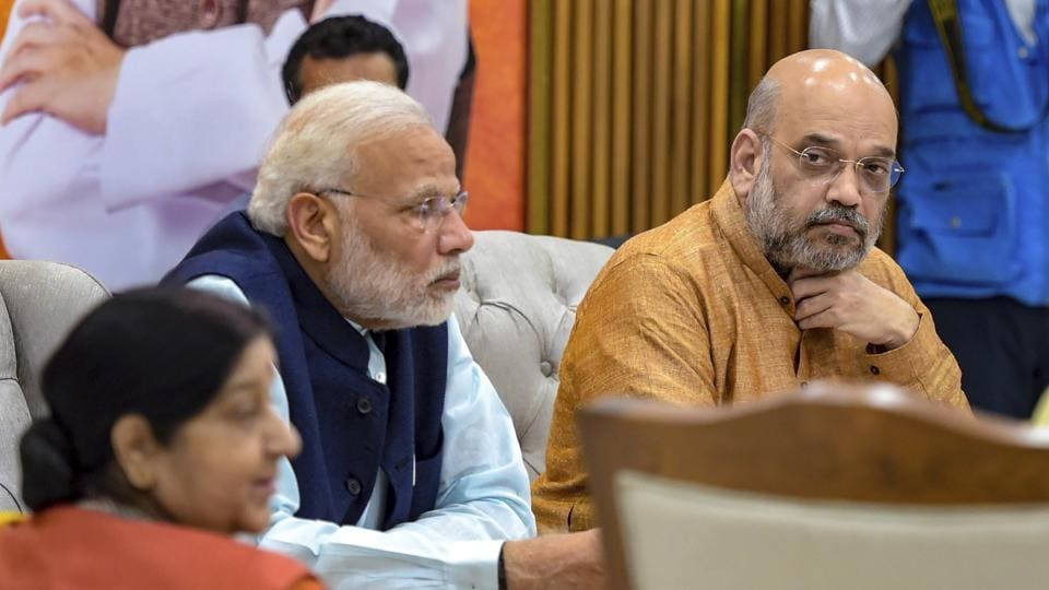 Prime Minister Narendra Modi, BJP president Amit Shah and external affairs minister Sushma Swaraj during the party's Central Election Committee meeting in New Delhi.