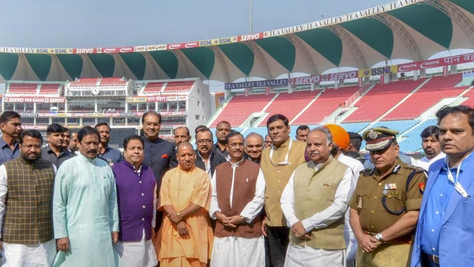 "Ahead of the first-ever international cricket match in the state capital Lucknow -- the T20 International between India and West Indies, the Uttar Pradesh government on Monday rechristened the Ekana International Cricket Stadium as ""Bharat Ratan Atal Bihari Vajpayee International Cricket Stadium"", with CM Yogi Adityanath inaugurating the stadium. (PTI)"