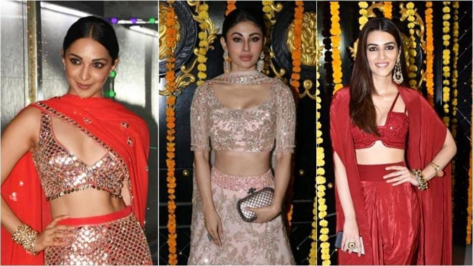Kiara Advani, Mouni Roy and Kriti Sanon attend a Diwali party at Ekta Kapoor's residence.