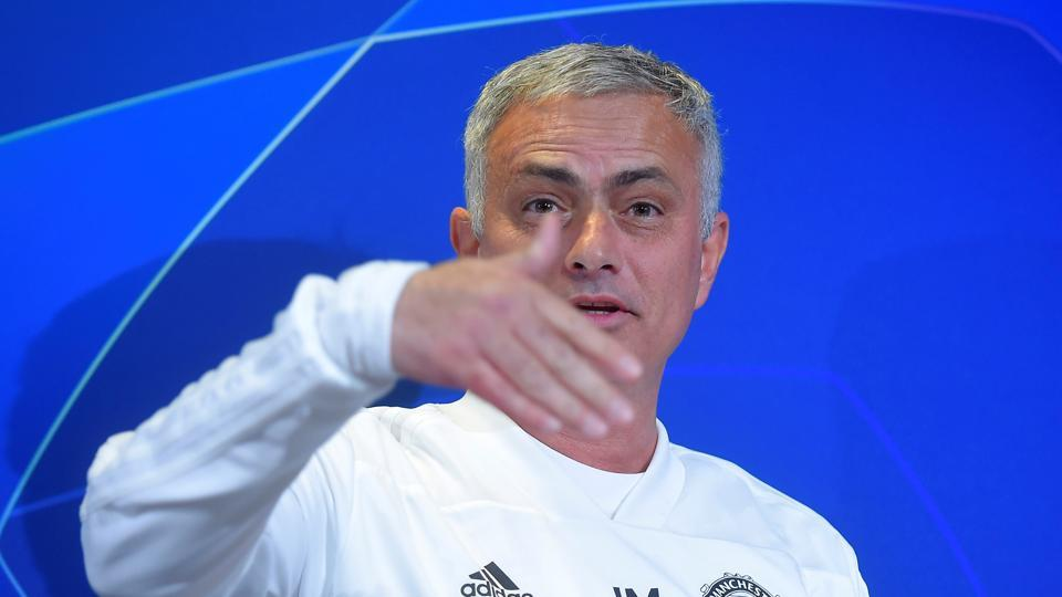 Manchester United manager Jose Mourinho during the press conference inTurin.