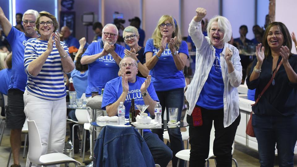 US Midterm Elections 2018: Democratic supporters react as the networks begin calling house races for Democrat candidates as they watch voting returns from the midterm elections at Cuba Libre lounge in Jacksonville, Fla., Tuesday, Nov. 6, 2018.