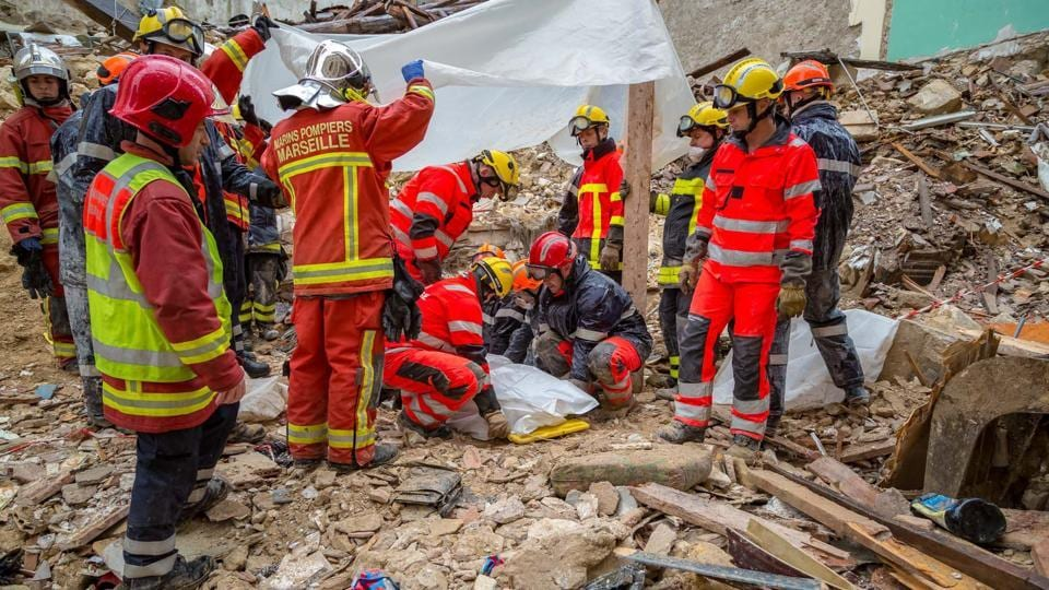 France,Marseille,house collapse