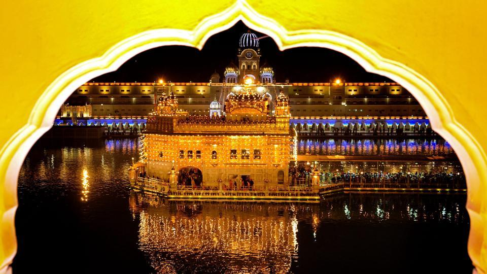 A view of the illuminated Golden Temple in Amritsar. (PTI)