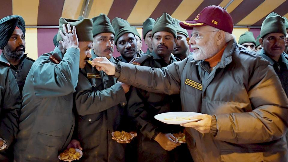 Prime Minister Narendra Modi celebrated Diwali with the jawans of the Indian Army and ITBP, at Harsil, in Uttarakhand. (PTI)