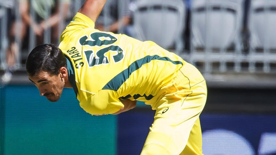 Australia's Mitchell Starc bowls during the first one-day international (ODI) cricket match between South Africa and Australia at the Optus Stadium in Perth.