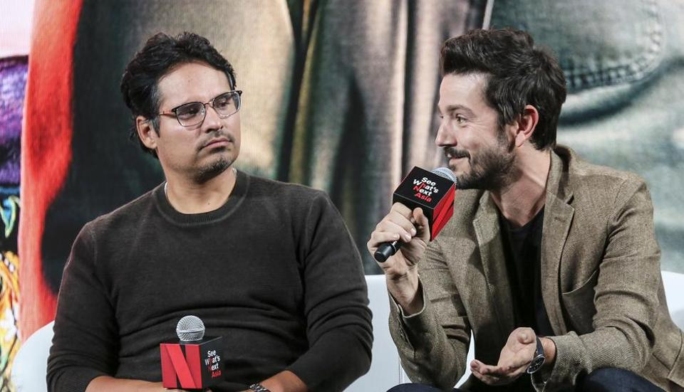 Michael Pena and Diego Luna speak during the Netflix See What's Next event at the Marina Bay Sands on November 8, 2018 in Singapore.