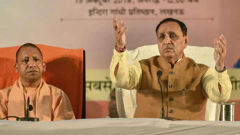 UP Chief Minister Yogi Adityanath and Gujarat CM Vijay Rupani at a press meet in Lucknow in October, 2018. Vijay Rupani on Thursday said his government was keen on renaming Ahmedabad as Karnavati.