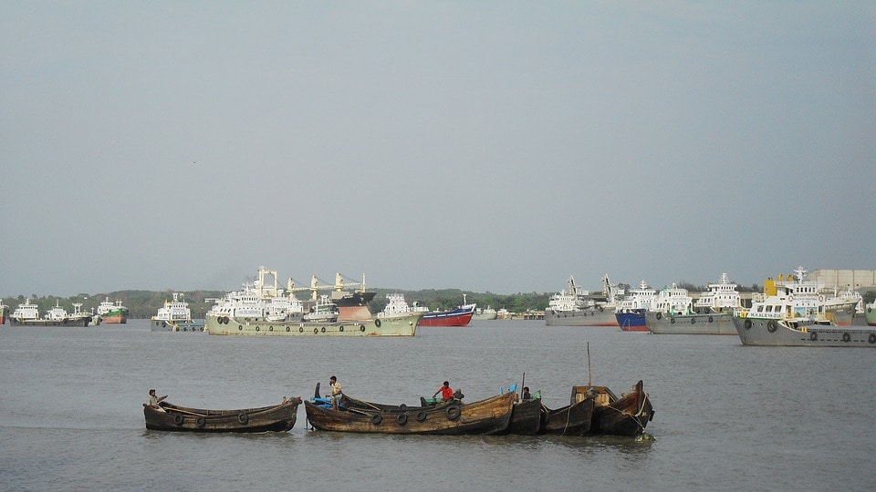 China has already helped build port in Gwadar in Pakistan and Hambantota in Sri Lanka. It is also funding the development of the Chittagong port (above) in Bangladesh.