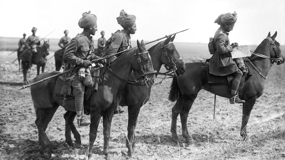 Forward scouts of the 9th Hodson's Horse, an Indian cavalry regiment, near Vraignes, France.