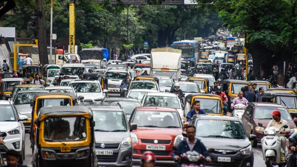 Traffic jam on JM road in Pune, India's 7th most congested city