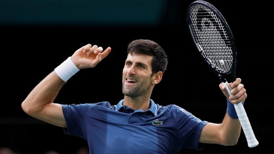 File image - Serbia's Novak Djokovic celebrates after winning his semi final match against Switzerland's Roger Federer.