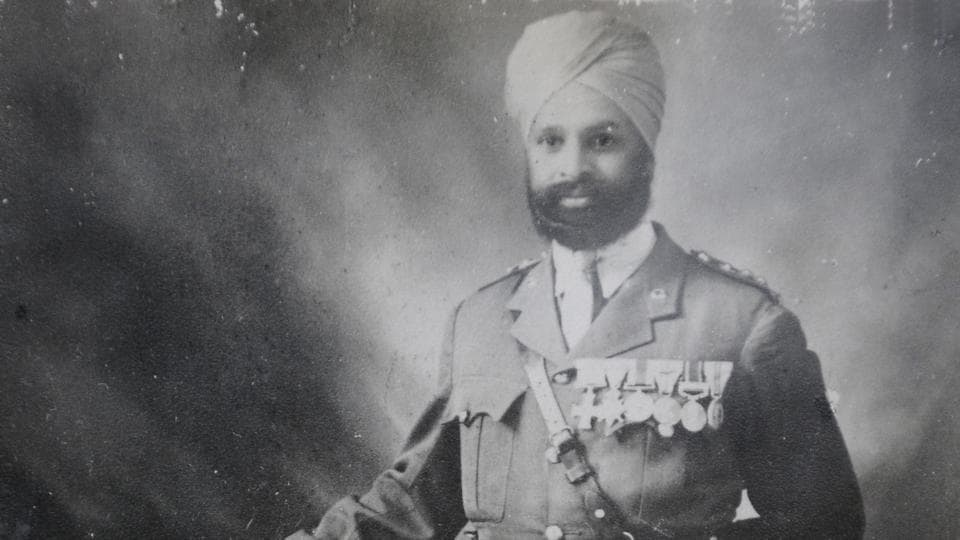 Subedar Major Thakur Singh, who participated in World War-I. Picture clicked from an old photograph at his grandson's residence, in Sector-04 in Panchkula, Haryana.