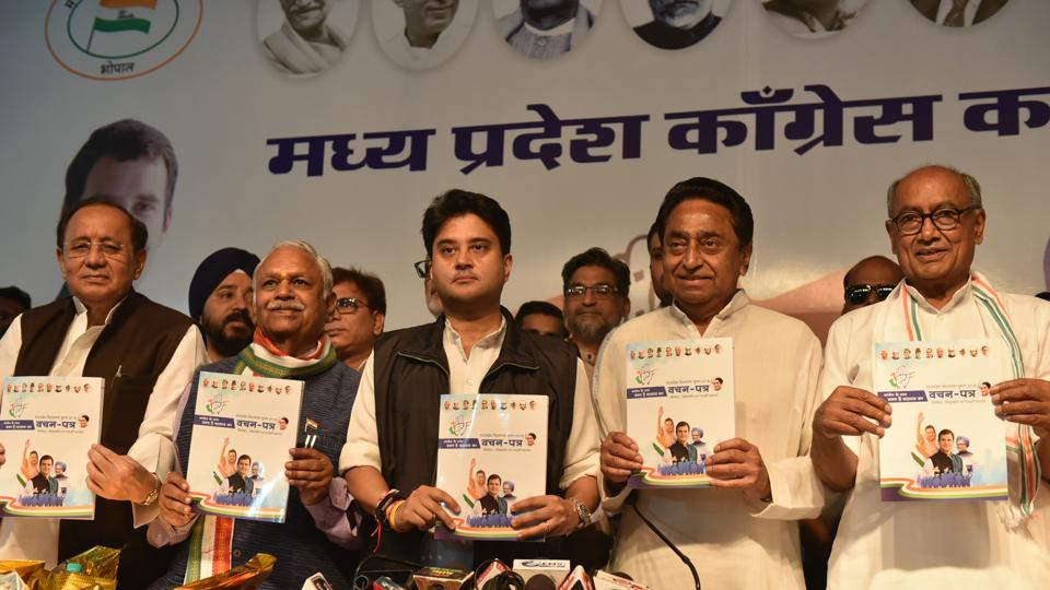 MP congress president Kamal Nath along with campaign committee chief Jyotiraditya Scindia and former chief minister Digvijaya Singh, among others, releasing party election manifesto