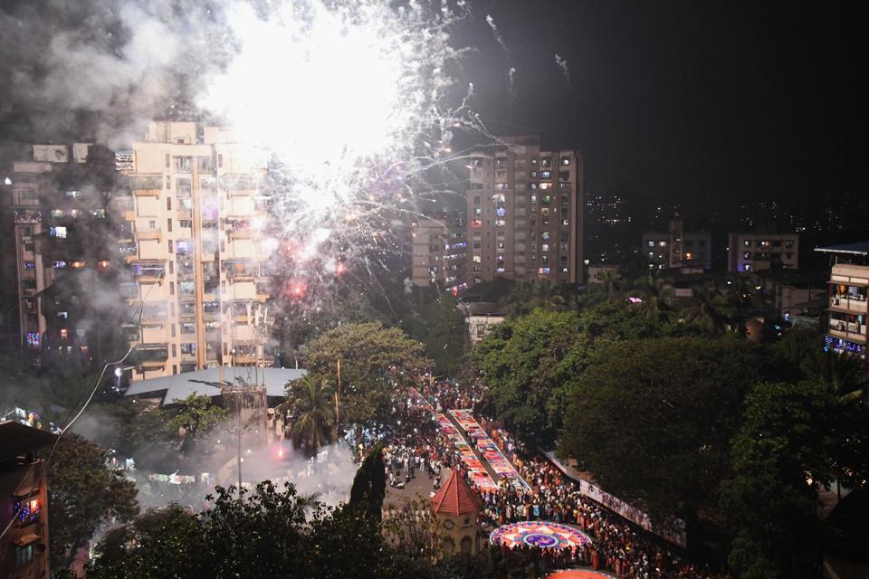 Crackers being burst on Diwali at Kopri in Thane.