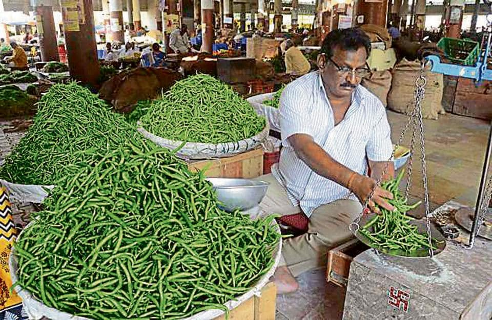 Prices of leafy vegetables including coriander, spinach, chilli and peas shot up by almost 30 per cent on Sunday.