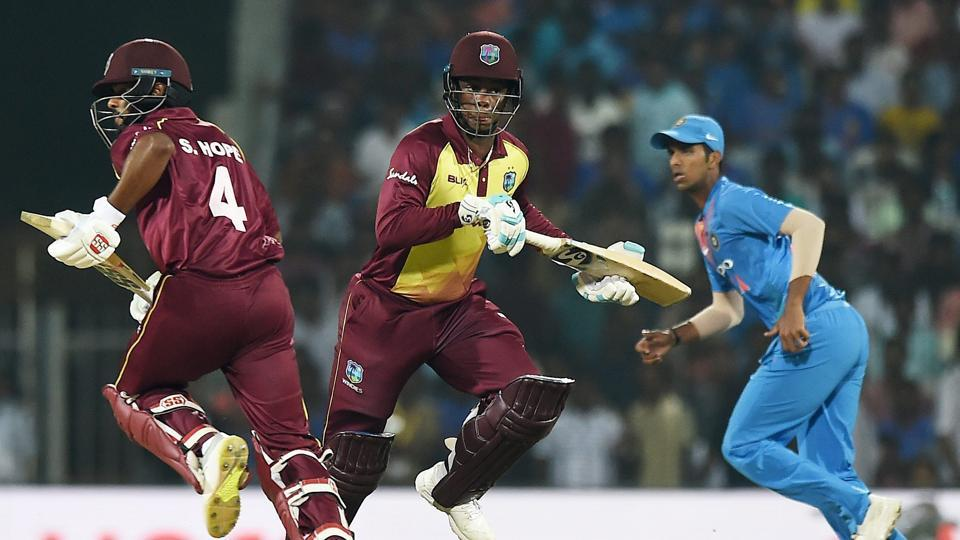 Chennai: West Indies batsmen Shimron Hetmyer and Shai Hope run between the wicket during the 1st T20I match against India during the 3rd and final T20 match against India at MAC Stadium in Chennai.