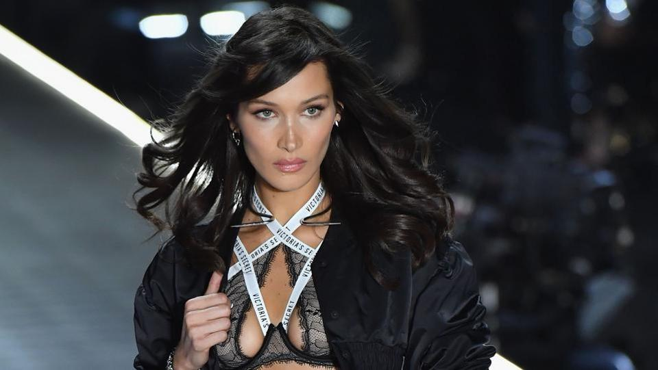 US model Bella Hadid walks the runway.  Categories for this year's show included: Glam Royale, Flights of Fancy, Team Pink and Celestial Angel.  (AFP)