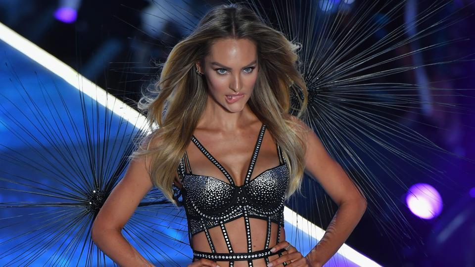 South African model Candice Swanepoel walks the runway.  The brand made its return to New York after two years abroad for its annual runway spectacle. (AFP)