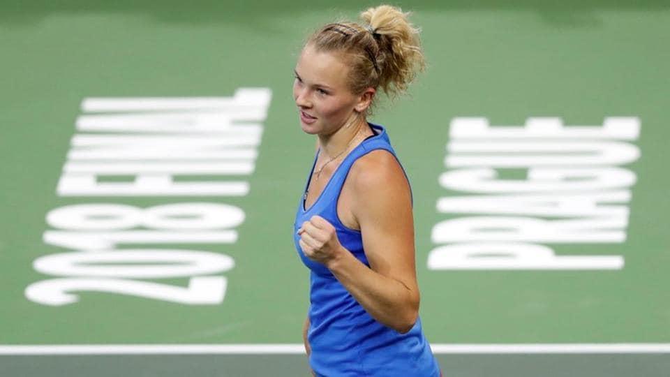 Czech Republic's Katerina Siniakova celebrates during her match against Alison Riske of the U.S.