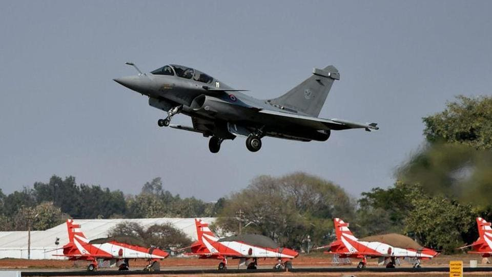 A French fighter aircraft Rafale takes off on the third day of the 11th biennial edition of AERO INDIA 2017 at Yelahanka Air base in Bengaluru on Thursday.