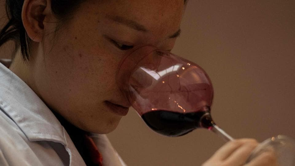 A sommelier samples wine at the Ao Yun vineyards. The smooth full-bodied blend of Cabernet Sauvignon and Cabernet Franc has surprised many wine lovers. Only 2,000 cases are produced per year and are sold in China, other Asian countries, the United States and Europe. (Fred Dufour / AFP)
