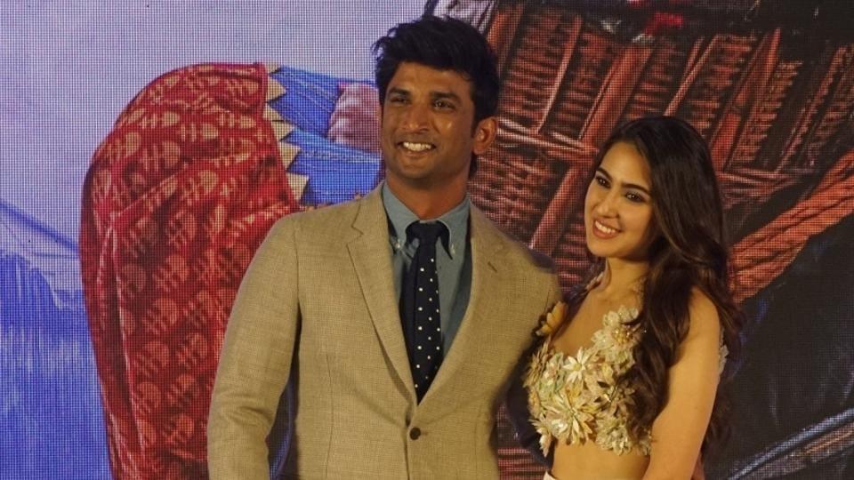 Sara Ali Khan and Sushant Singh Rajput at the trailer launch of their upcoming film, Kedarnath.