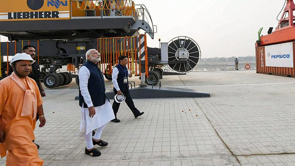 Prime Minister Narendra Modi looks on at India's first multi-modal terminal on the Ganga river during its inaugural function, in Varanasi, Monday, Nov 12, 2018.