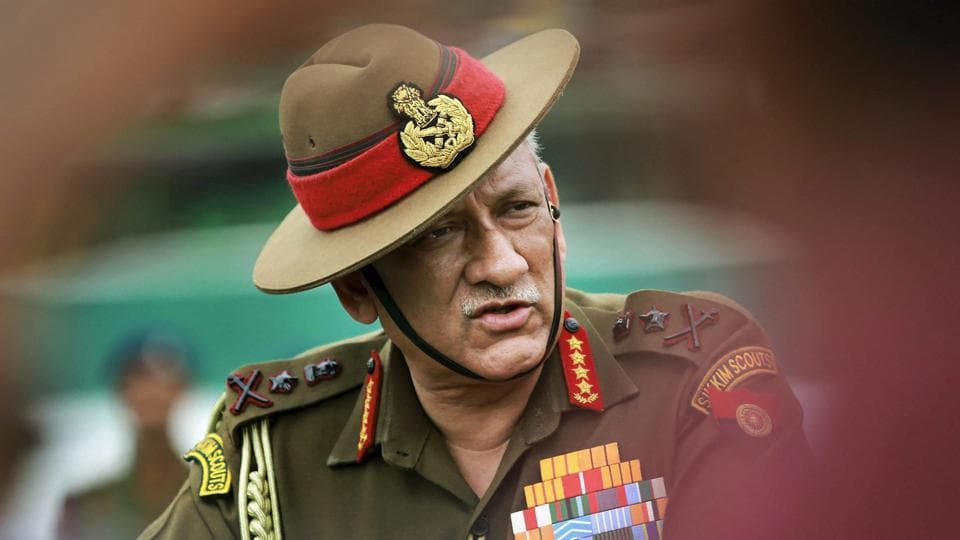 Army chief general Bipin Rawat addresses media during celebration of 'Undying Spirit of The Disabled Soldiers' at Mamun Cantonement in Pathankot of Punjab.