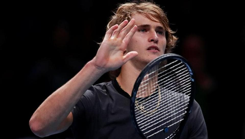 Alexander Zverev celebrates after winning his group stage match against Croatia's Marin Cilic.