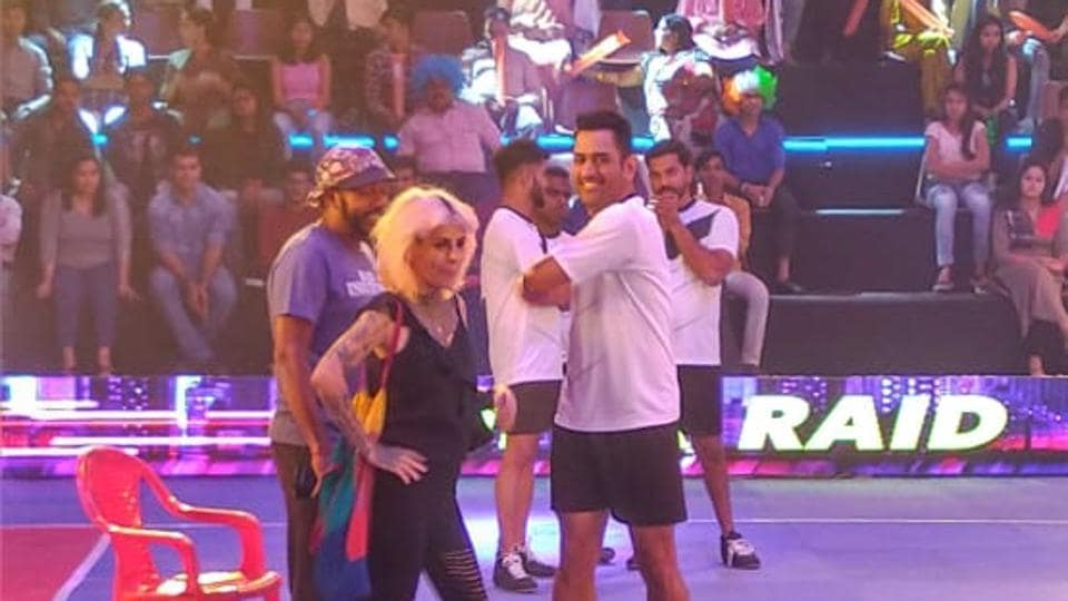 MSDhoni shoots for a Pro Kabaddi League promotional video.