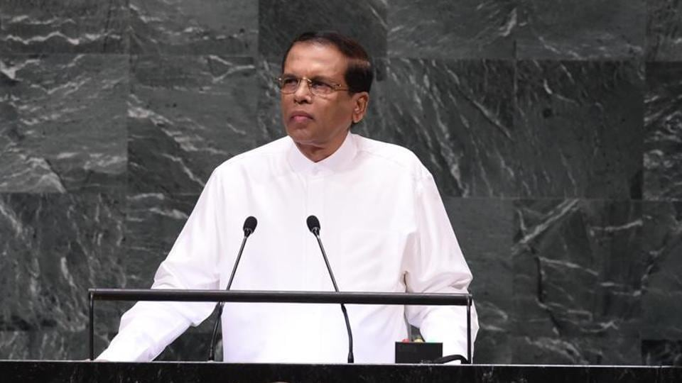 Sri Lankan President Maithripala Sirisena at the 73rd session of the General Assembly at the United Nations on September 25.