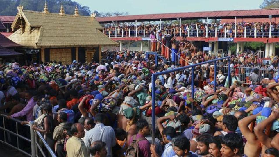 Worshippers queue during a pilgrimage at the Sabarimala temple in Kerala.
