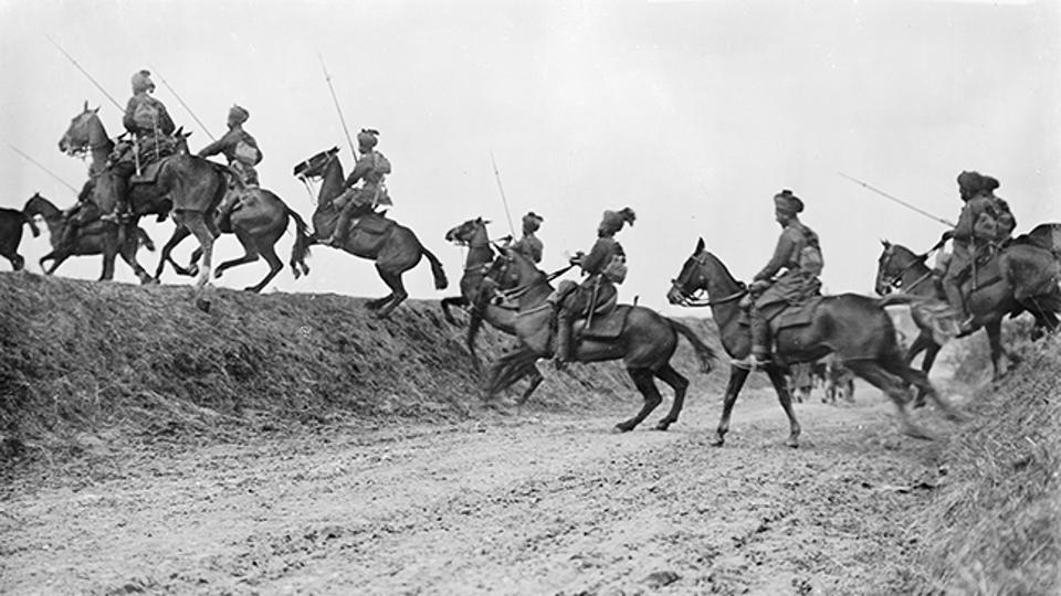 The 9th Hodson's Horse (Bengal Lancers) cavalry regiment of the Indian Army march forward during the Battle of Arras near Vraignes in 1917. With more soldiers than Australia, Canada, New Zealand and South Africa combined, India's contribution to WW1 cannot be undermined, even though a large part of this history has been forgotten, despite being scripted in various historical documents. (Imperial War Museums)