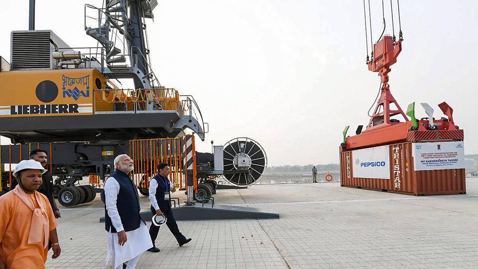 Prime Minister Narendra Modi looks on at India's first multi-modal terminal on the Ganga river during its inaugural function, Varanasi, November 12, 2018