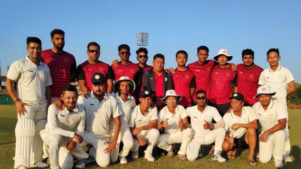 File image of players of Sikkim Ranji cricket team pose for a photograph.