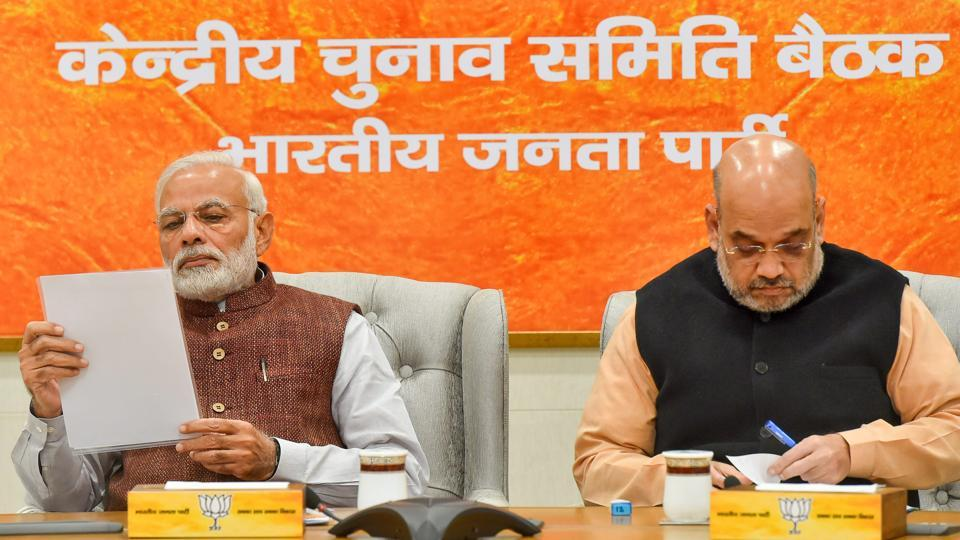 Prime Minister Narendra Modi and BJP President Amit Shah during the party's Central Election Committee meeting for the forthcoming Assembly polls in Rajasthan at party headquarters in New Delhi.