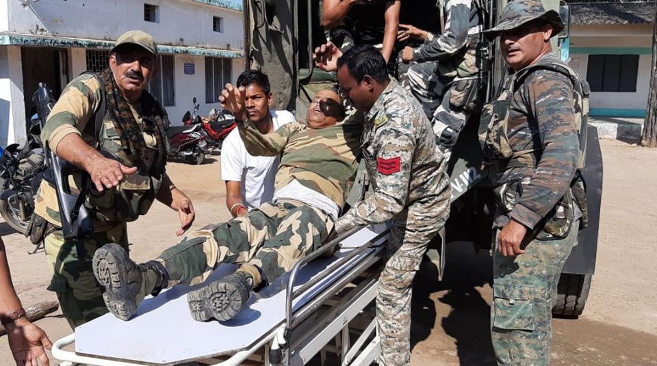 A senior police official on Wednesday said that five security personnel, including four BSF jawans, and a civilian were injured when Maoists blew up a truck with an IED in Chhattisgarh's Bijapur district. The incident took place around 9 am at Bijapur Ghati, located around 7 km from Bijapur town, Deputy Inspector General (anti-Naxal operations), Sundarraj P told PTI. (HT Photo)
