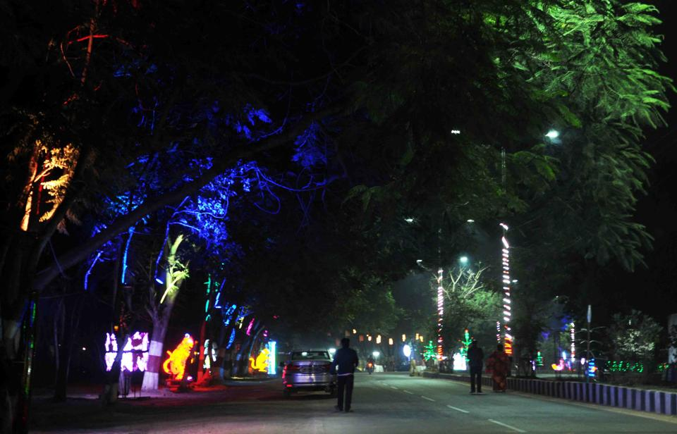 Light decoration around the venue of 18th statehood day state function at Morhabadi ground in Ranchi, India, on Monday, November 12, 2018